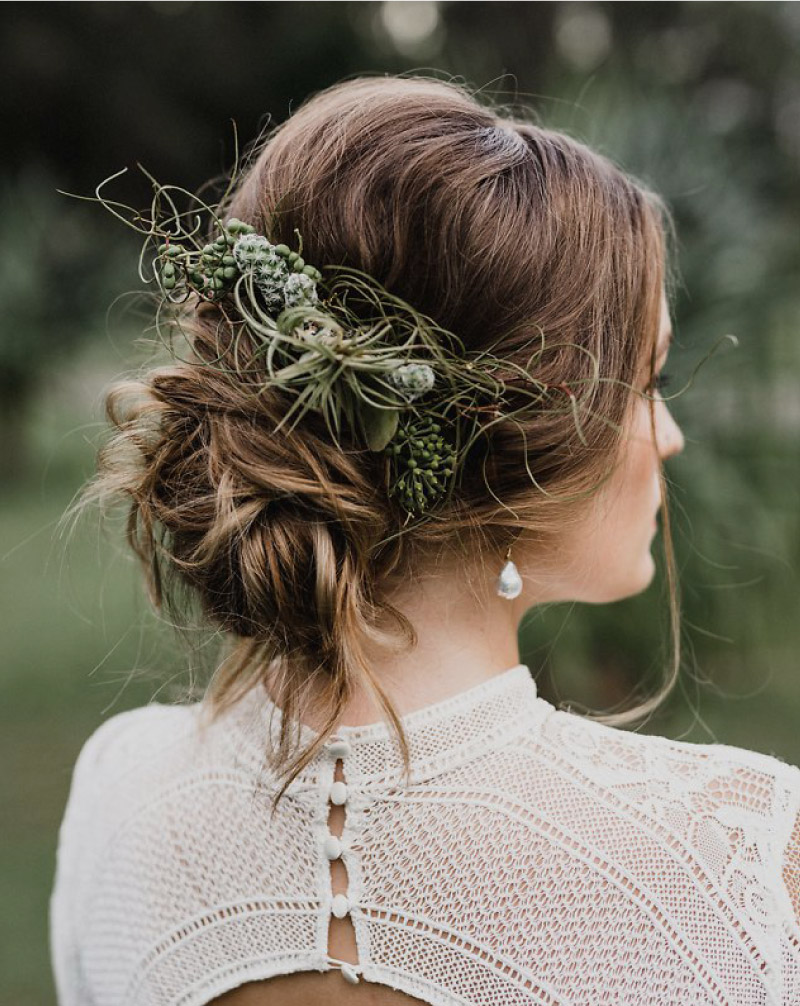 Natural, bohemian wedding hair style